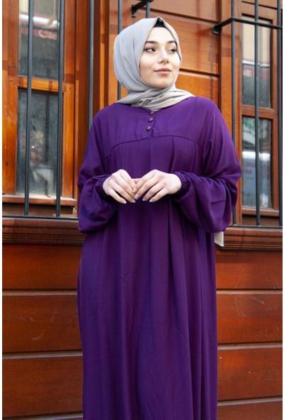 Nesliay Boydan Tesettür Viskon Elbise Mor 1201