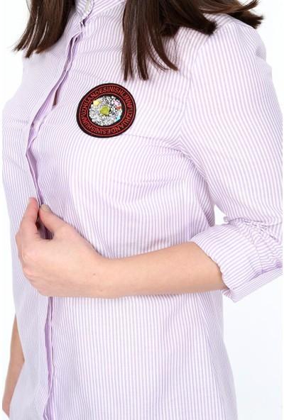 Nesliay Kadın Çizgili Gömlek Lila