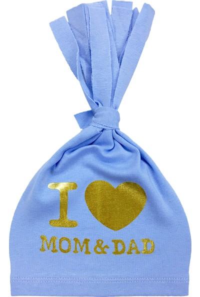By Leyal For Kids I Love Mam Dad Detaylı Penye Şapka