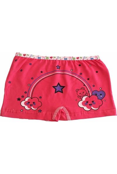 Tutku Iç Giyim Kız Çocuk Renkli Likralı Pamuk Boxer Külot 6'lı Paket