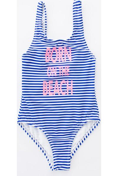 Penti Beyaz - Mavi Kız Çocuk Neon Slogan Mayo