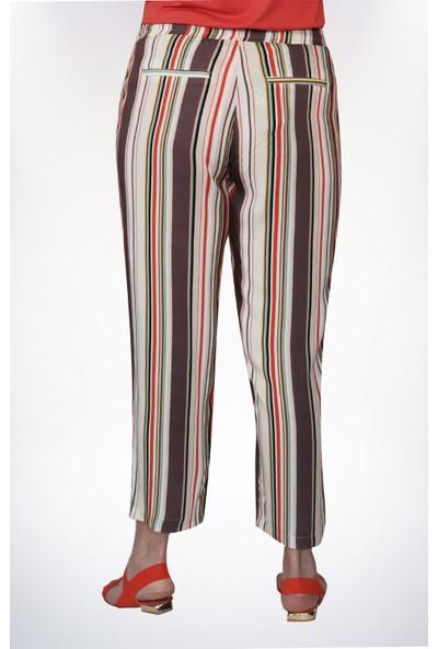 No Secret Büyük Beden Çizgili Pantolon