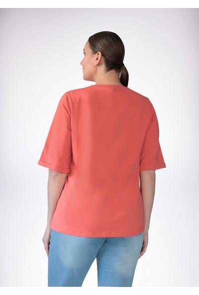 No Secret Büyük Beden Baskılı T-Shirt