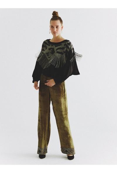 Roman Boncuk İşlemeli Pantolon-K2064108-089