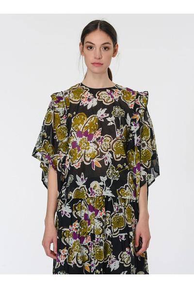 Roman Çiçek Desenli Bluz
