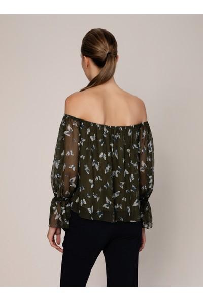 Roman Desenli Off Shoulder Bluz-K1913019-089