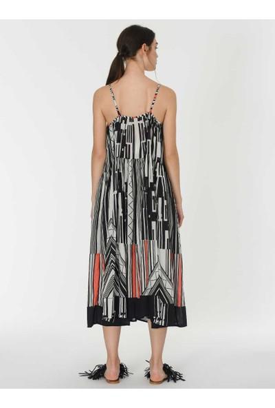 Roman Desenli Askılı Elbise-Y1965103-089