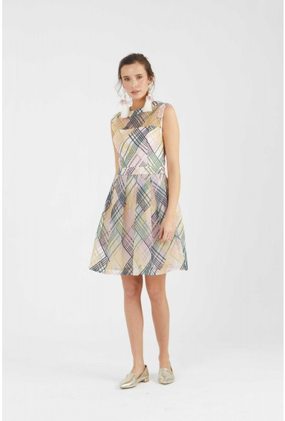 Roman Ekose Detaylı Elbise-Y1811033-089