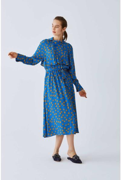 Roman Puantiyeli Mavi Elbise-K2011059-089