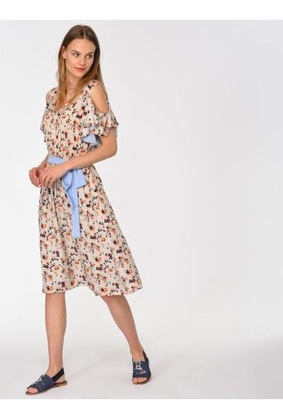 Roman Kuşak Detaylı Desenli Elbise-Y1911082-089