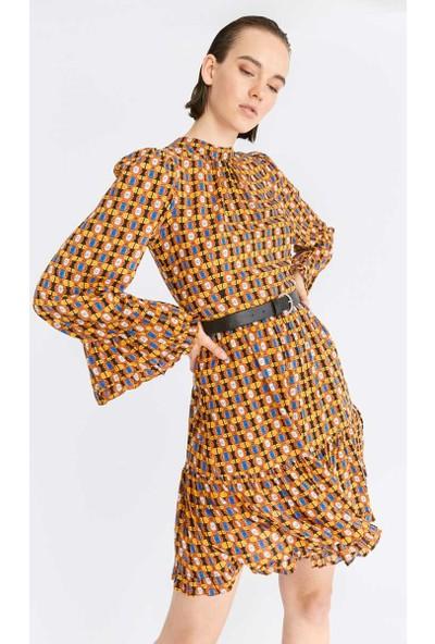 Roman Desenli Elbise-K2011010-089