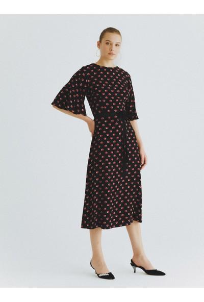 Roman Kuşaklı Puantiyeli Elbise-K2011076-089