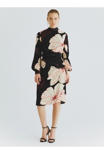Roman Çiçek Desenli Elbise-K2011070-089