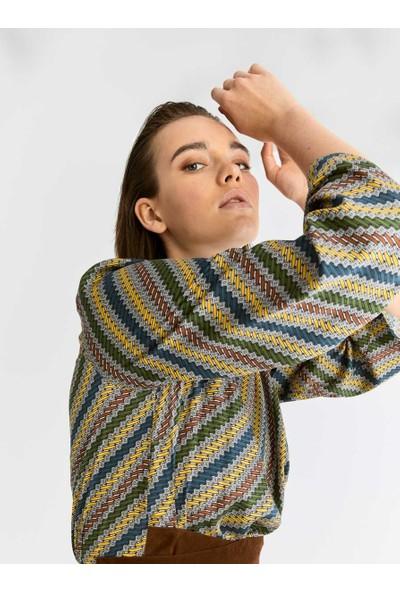 Roman Kuşak Detaylı Renkli Elbise-K2011077-089