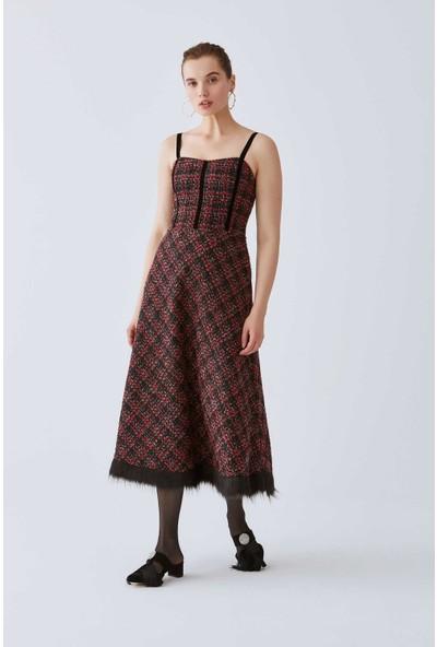 Roman Askılı Tüy Detaylı Elbise-K2011064-089