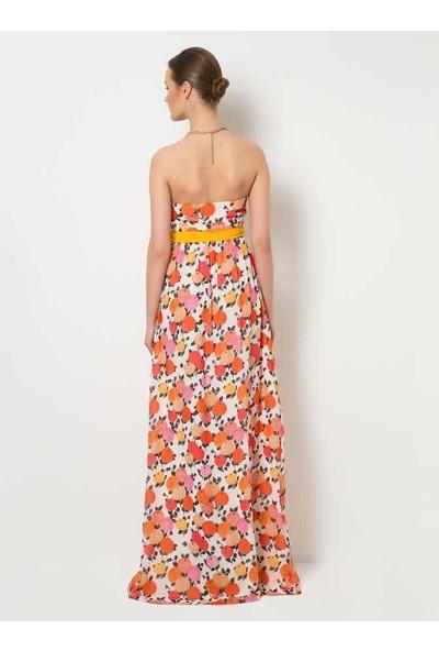 Roman Çiçek Desenli Straplez Abiye Elbise-Y1521060-050