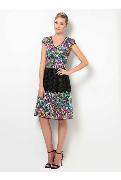 Roman Renkli Dantel Elbise-Y1511207-050