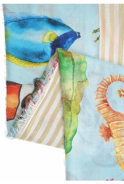 Roman Balık Desenli Şal-Y1984224-089