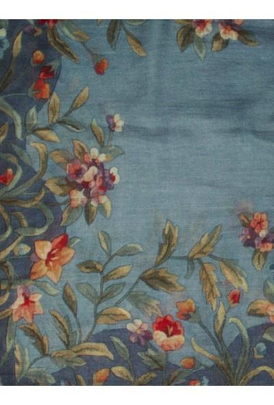 Roman Çiçek Desenli Yün İpek Karışım Şal-K1984210-089
