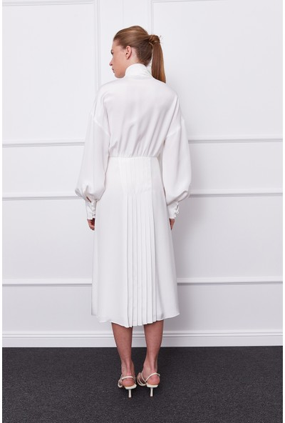 Mergim Gloria Ipek Elbise Beyaz