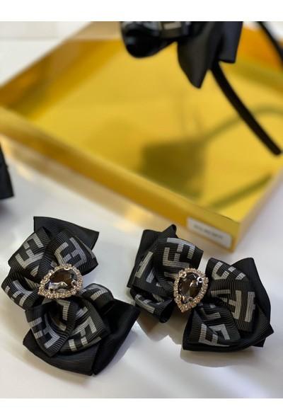 Queen Accessories Siyah 4'lü Gümüş Kristal Taşlı Anne Kız Bebek Kombin Taç Toka Seti