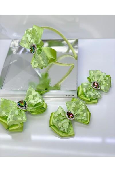 Queen Accessories Yeşil 4'lü Kristal Taşlı Yıldız Desenli Anne Kız Bebek Kombin Taç Toka Seti