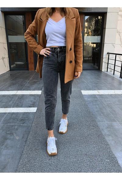 Moda Çelikler Antrasit Mom Fit Pantolon