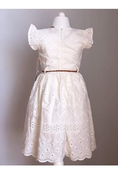 Tivido Ekru Fisto Kumaş Kolyeli Kız Çocuk Elbisesi