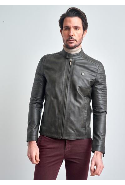 Pierre Cardin Erkek Gri Motorcu Slim Fit Deri Ceket