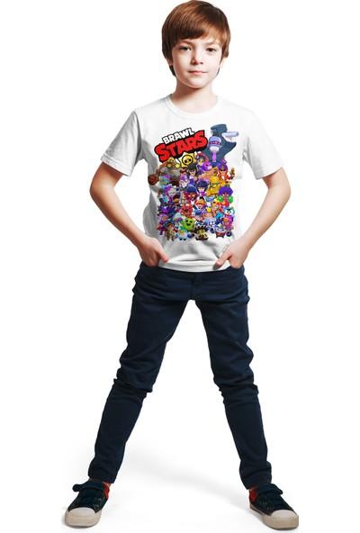 ACR Giyim Brawl Stars - All Stars - Dijital Baskılı Beyaz T-Shirt E-01