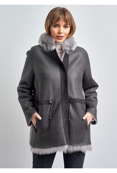 Pierre Cardin Kadın Gri Kürklü Süet Deri Ceket