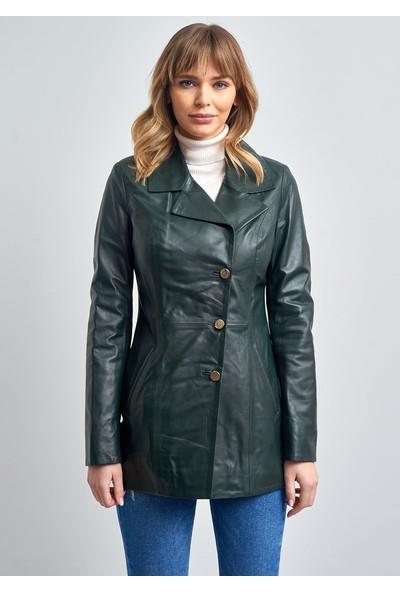 Pierre Cardin Kadın Haki Düğmeli Uzun Deri Ceket