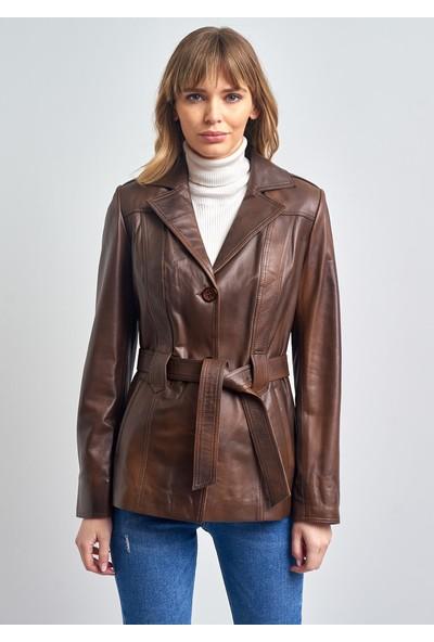 Pierre Cardin Kadın Kahverengi Düğmeli Kemerli Deri Ceket