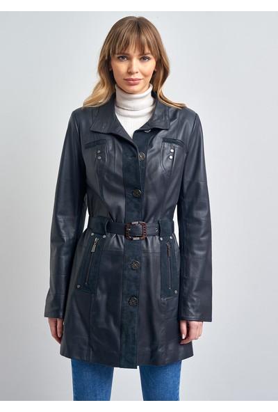 Pierre Cardin Kadın Lacivert Düğmeli Kemerli Deri Ceket