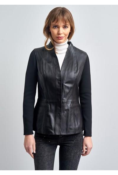 Pierre Cardin Kadın Siyah Çift Cepli Örme Kol Deri Ceket