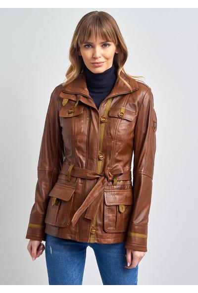 Pierre Cardin Kadın Taba Kemerli Deri Ceket