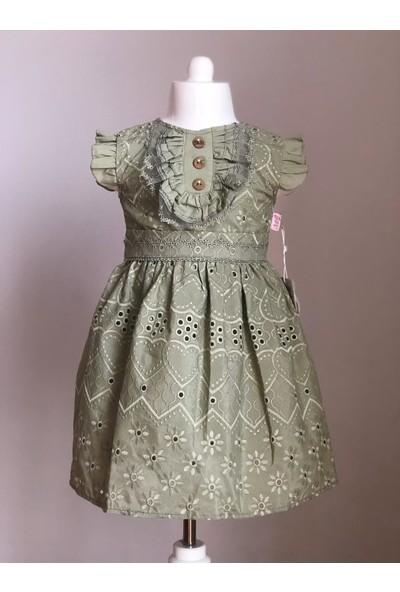 Tivido Haki Fisto Kumaş Düğme Detaylı Kız Çocuk Elbisesi