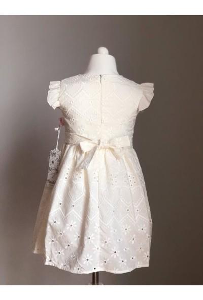 Tivido Ekru Fisto Kumaş Düğme Detaylı Kız Çocuk Elbisesi