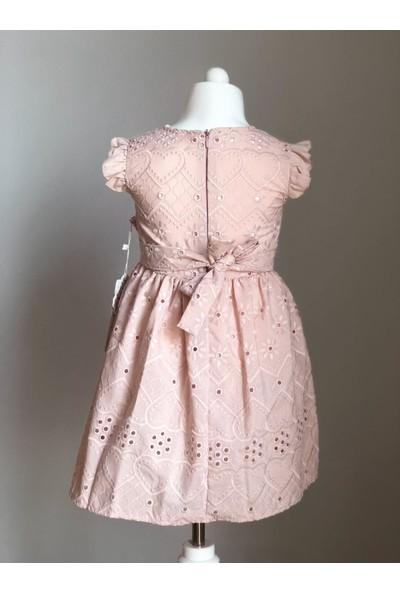 Tivido Pudra Pembe Fisto Kumaş Düğme Detaylı Kız Çocuk Elbisesi