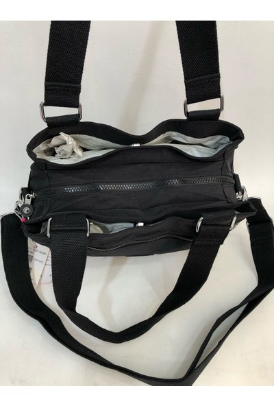 Smart Bags Çok Gözlü Kadın Krinkıl Kumaş Omuz Çantası Ebat 30CM25CM Siyah