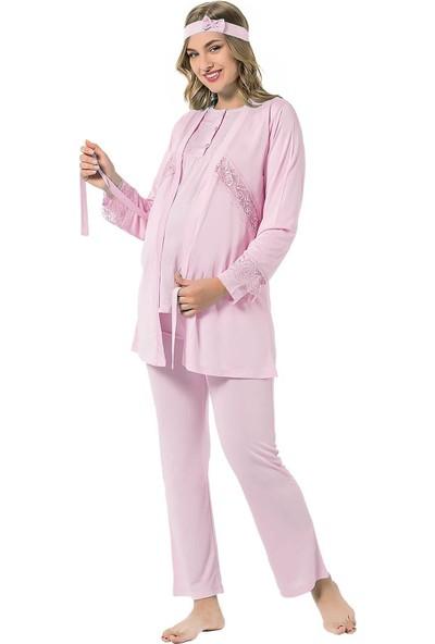 Alimer Dantelli 3'lü Hamile Kadın Pijama Takımı 2441