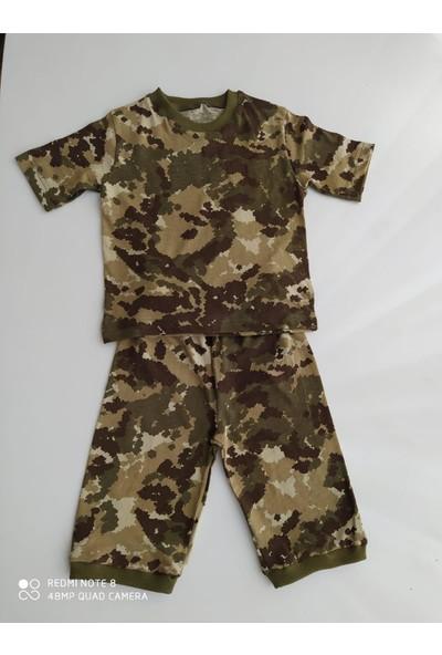 Inci Mercan Erkek Çocuk Kamuflaj Desenli Pijama Takımı