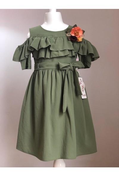 Tivido Haki Pamuklu Omuz Yırtmaçlı Çiçek Detaylı Kız Çocuk Elbisesi