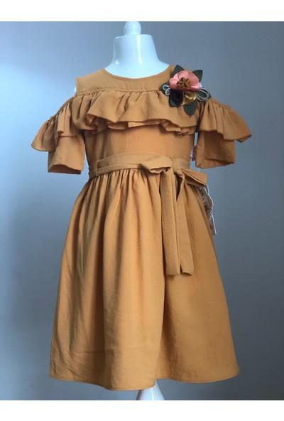 Tivido Hardal Pamuklu Omuz Yırtmaçlı Çiçek Detaylı Kız Çocuk Elbisesi