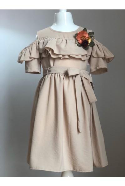 Tivido Vizon Pamuklu Omuz Yırtmaçlı Çiçek Detaylı Kız Çocuk Elbisesi