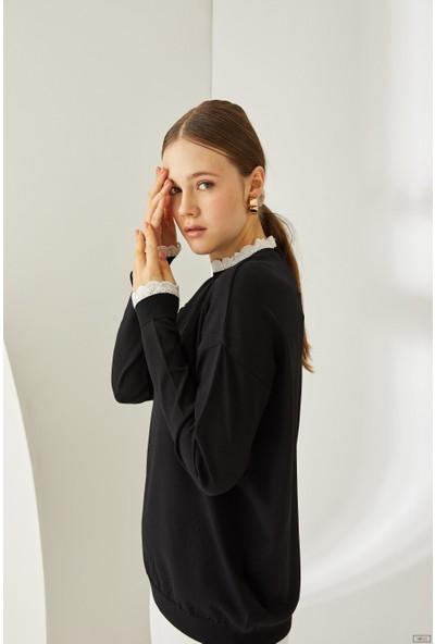 Qozza Kadın Wavy Soğuk İplik Triko Tunik Siyah M