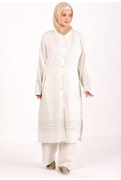Kanaviçe Hac ve Umre Kıyafeti Kadın Keten Eteği Sulu Pantolonlu Takım Krem