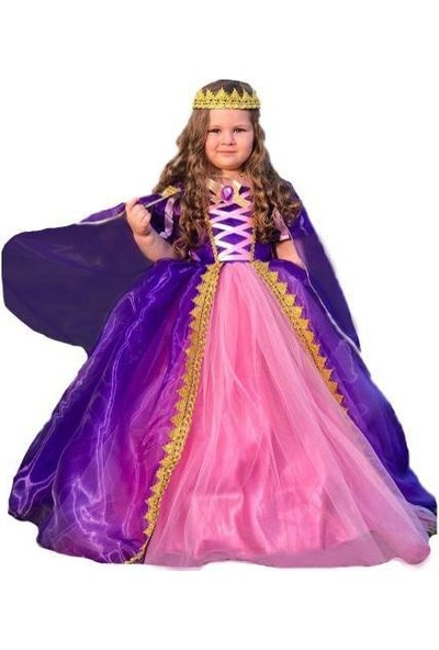 MashoKids Pelerinli Taçlı Tarlatanlı Rapunzel Kostümü