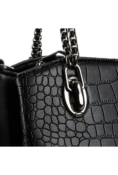 Brs Bags Omuz ve El Çantası Siyah Krokodil