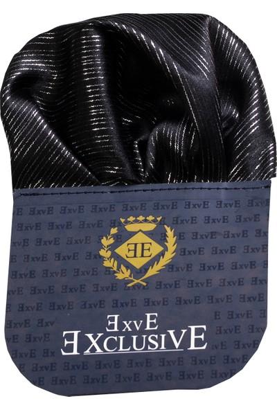 Exve Exclusive Siyah Gümüş Çizgili Katlanmış Hazır Cep Mendili